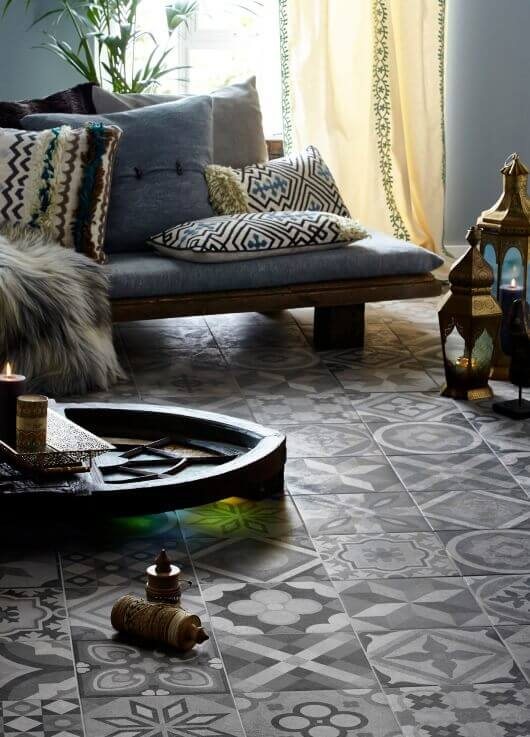 lifestyle product photography living room floor tiles