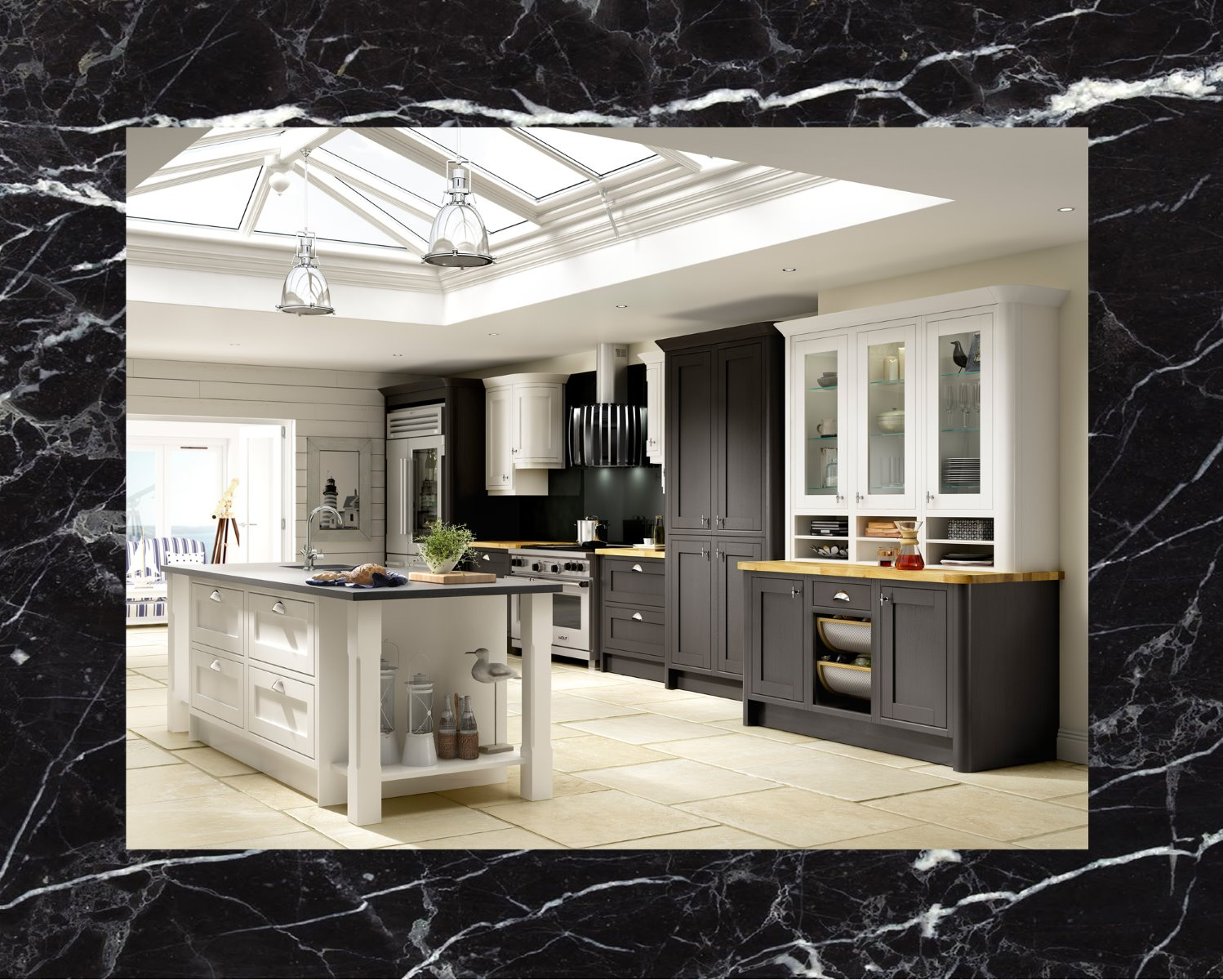black_marble_island_shaker_kitchen