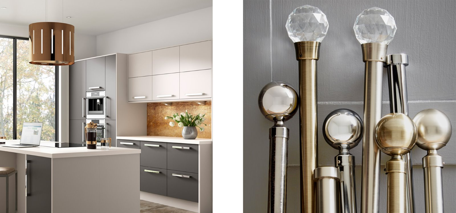Copper splashback chrome curtain poles