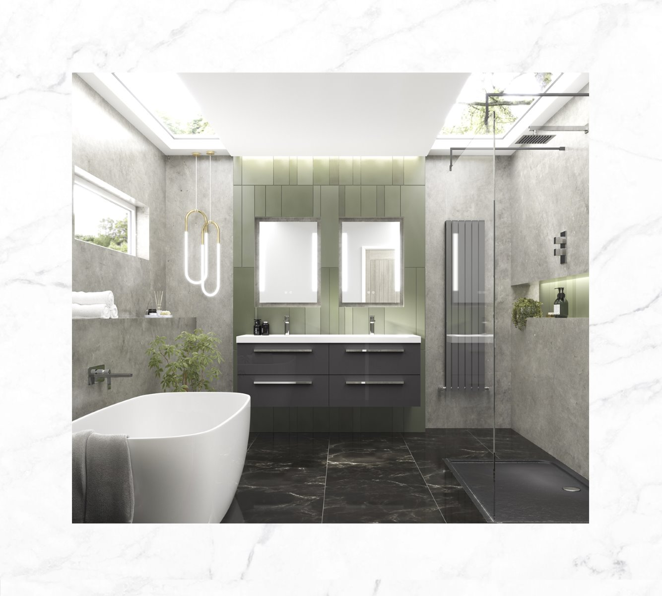 lux bathroom inspiration marble concrete