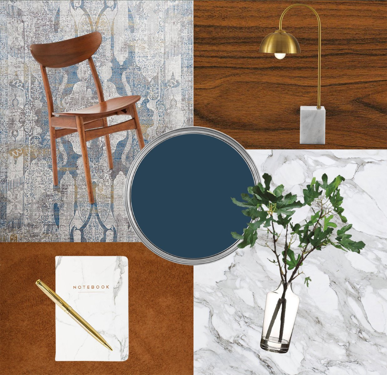 Mood board home office marble inky blue